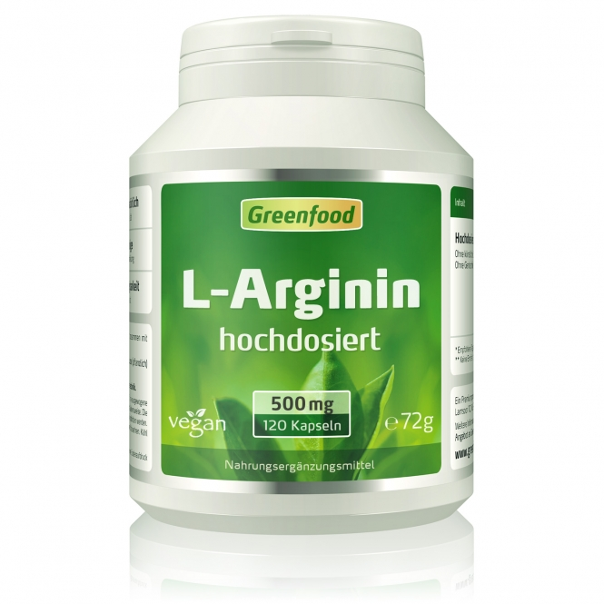 L-Arginin, 500 mg 120 Kapseln