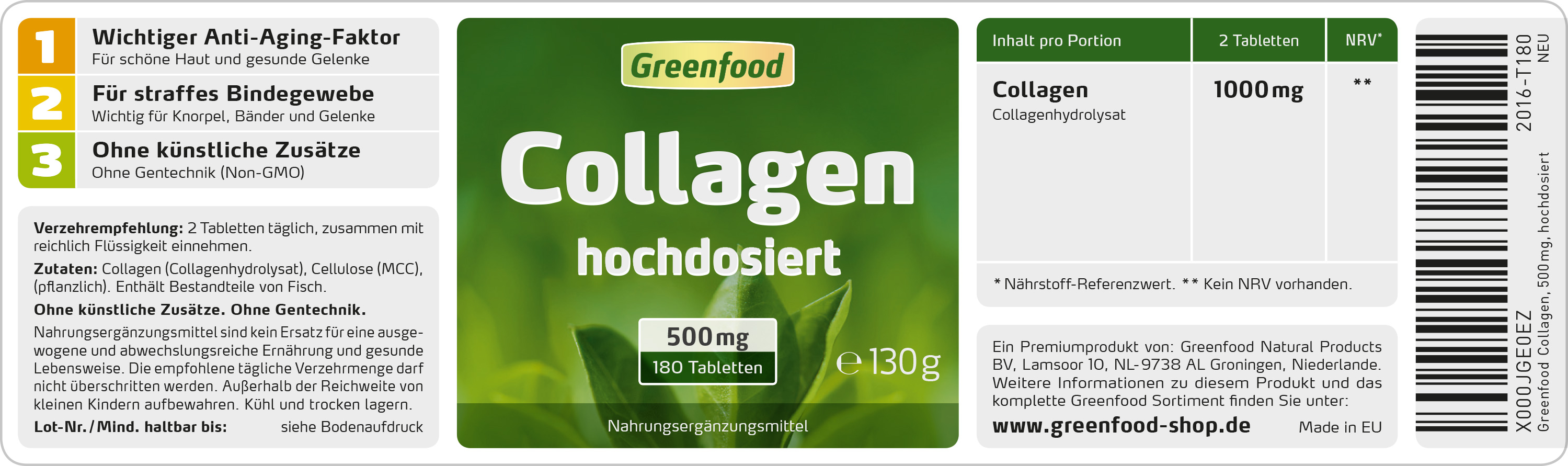 greenfood collagen 500mg 180 tabletten. Black Bedroom Furniture Sets. Home Design Ideas
