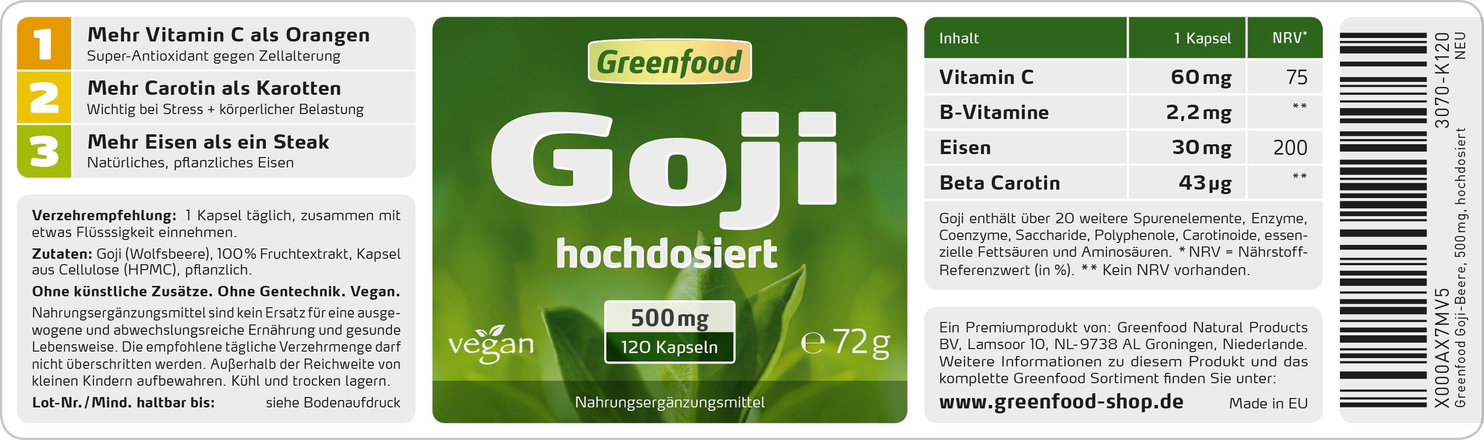greenfood goji beere 500mg hochdosiert 120 kapseln. Black Bedroom Furniture Sets. Home Design Ideas